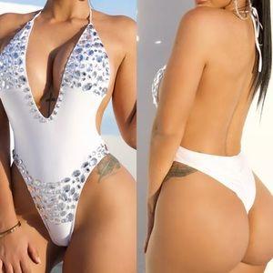 White crystal rhinestone swimsuit bodysuit rave